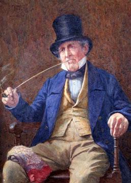 An old man smoking his pipe