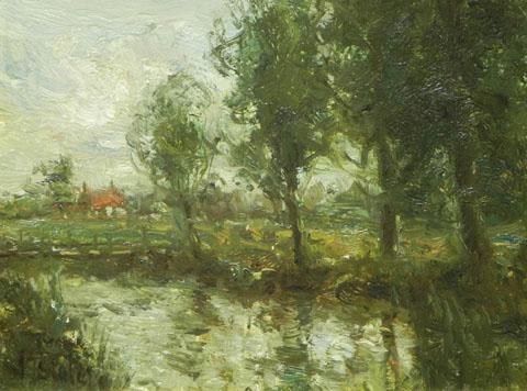 Impressionist River Landscape