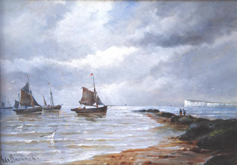 Fishing boats off the coast