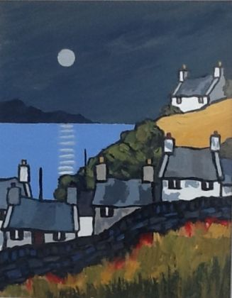 Cottages near the bay evening