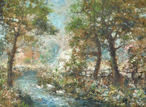 Ducks on a stream
