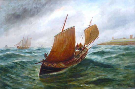 Fishing boat off Dunstanburgh Castle