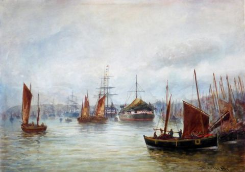 Herring boats and shipping on the Tyne