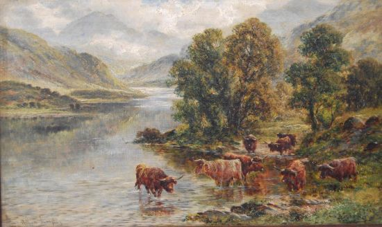 Highland Cattle before a Loch