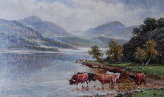 Highland Cattle in an expansive Scottish Landscape