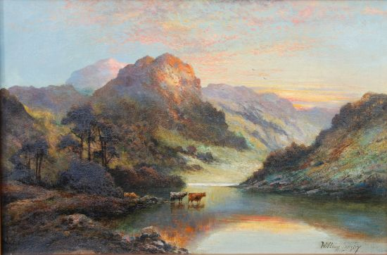 Highland Cattle watering in a Loch