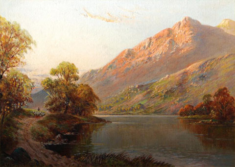 A Shepherd leading his flock by a loch