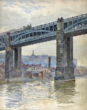 A Steam Train crossing the High Level Bridge