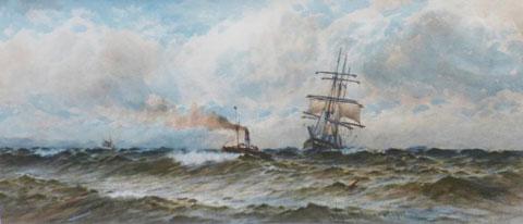 Paddler towing a Sailing Ship into Port
