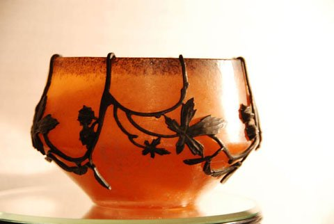 Metal and Glass Vase by Val