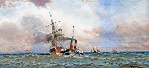 A Paddle Tug towing a Sailing ship