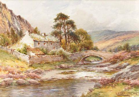 Cottages by a bridge