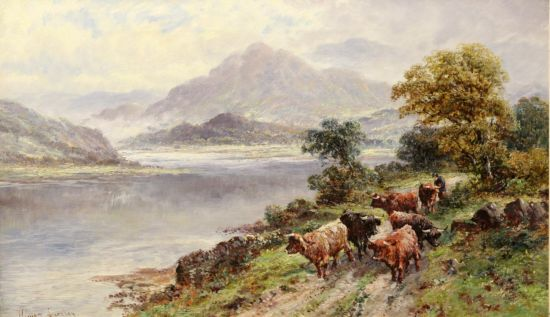 Highland Cattle on a path by a Loch