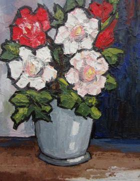 Roses in Grey Vase