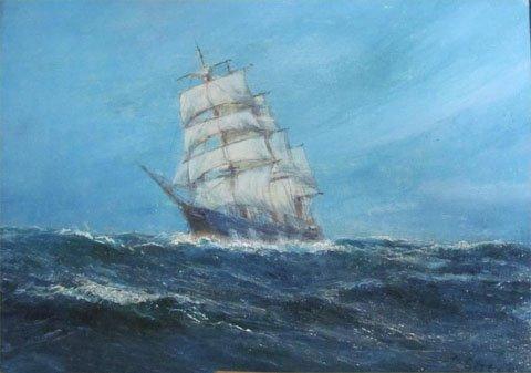 A Schooner in Choppy Seas
