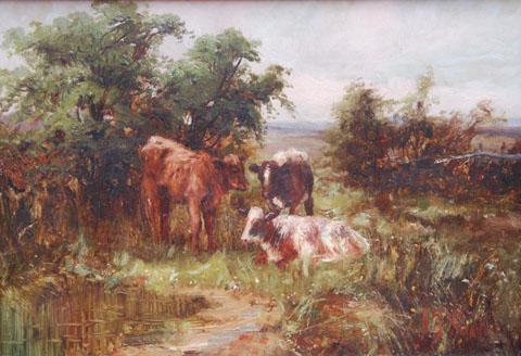 Calves by a Pond
