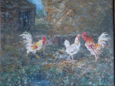 Cockerels by a Haystack