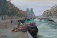 Flower sellers on the banks of the Seinne, Notre Dame and Paris beyond.