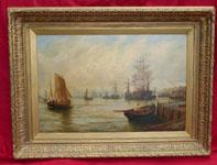 Sailing ships moored on the Tyne