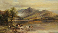 Shorthorn Cattle by a Scottish Loch