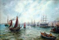 Sailing ship and steamers on the Tyne