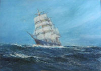 A Schooner in Choppy Seas
