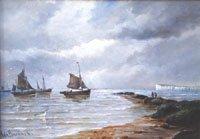 Fishing boats off the coast