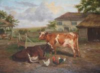 Cattle and Chickens in a Farmyard