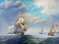 Frigate and Merchantmen off harbour