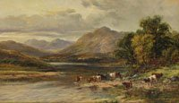 Cattle by a Highland loch